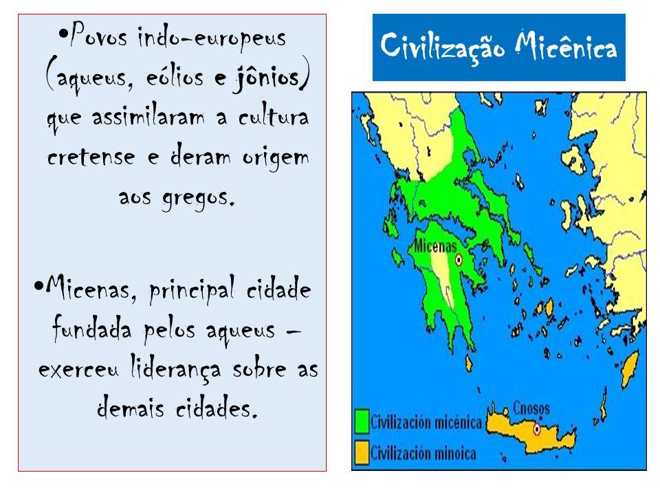 Povos indo-europeus (aqueus, eólios e jônios) que assimilaram a cultura cretense e deram origem aos gregos.