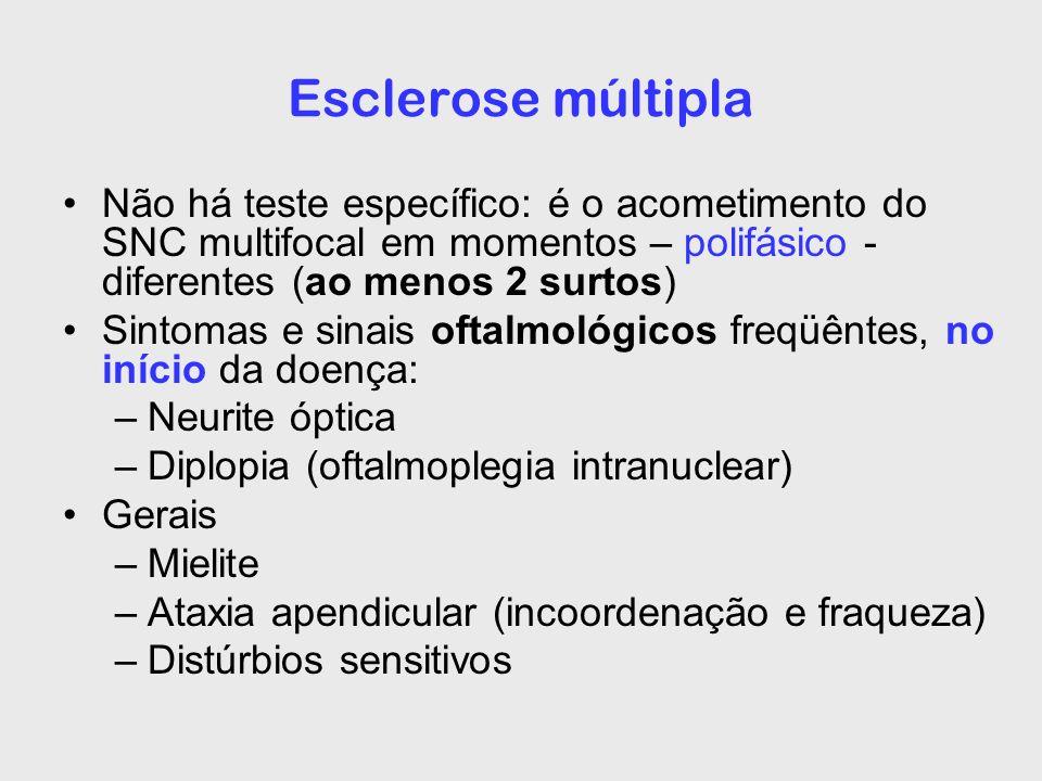 Esclerose múltipla Não há teste específico: é o acometimento do SNC multifocal em momentos – polifásico - diferentes (ao menos 2 surtos)