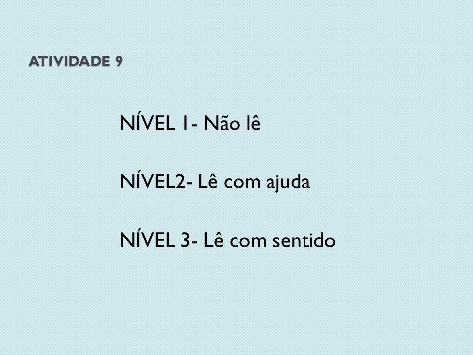 NÍVEL 1- Não lê NÍVEL2- Lê com ajuda NÍVEL 3- Lê com sentido