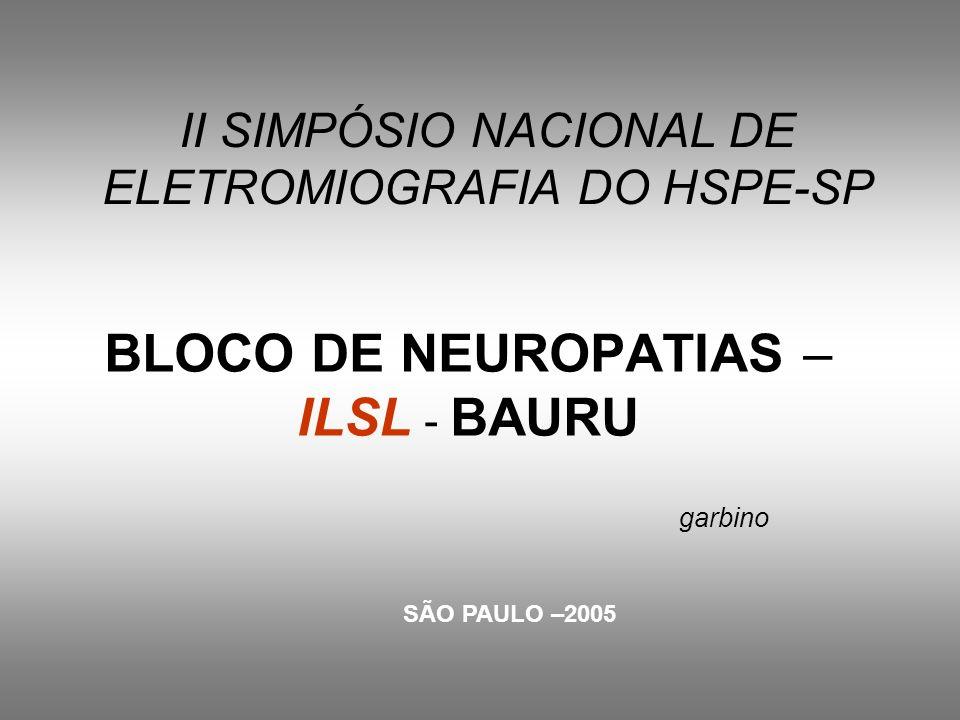 II SIMPÓSIO NACIONAL DE ELETROMIOGRAFIA DO HSPE-SP