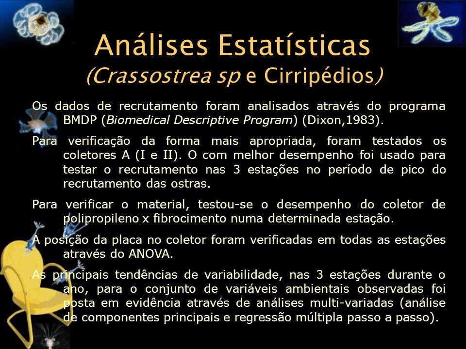 Análises Estatísticas (Crassostrea sp e Cirripédios)