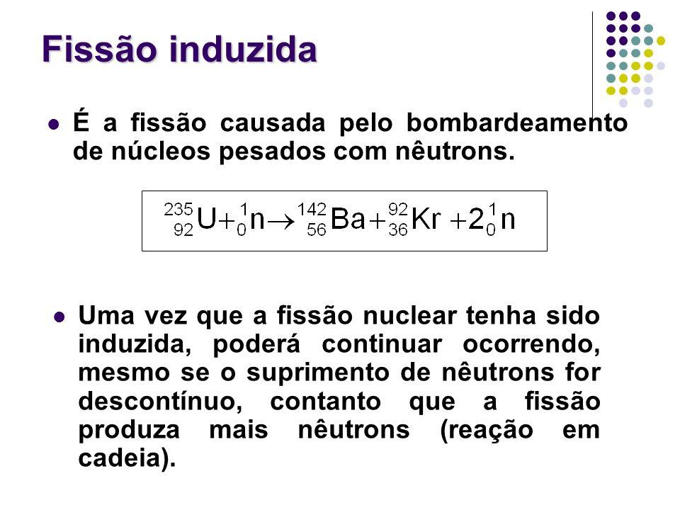 Fissão induzida É a fissão causada pelo bombardeamento de núcleos pesados com nêutrons.