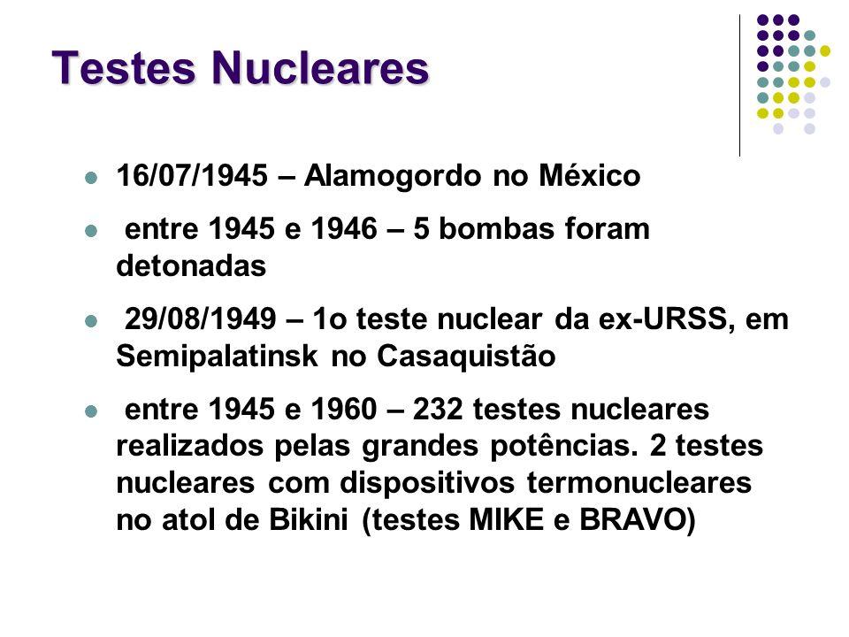 Testes Nucleares 16/07/1945 – Alamogordo no México