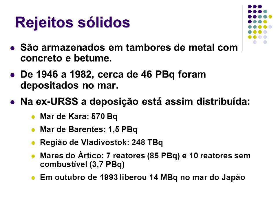 Rejeitos sólidos São armazenados em tambores de metal com concreto e betume. De 1946 a 1982, cerca de 46 PBq foram depositados no mar.