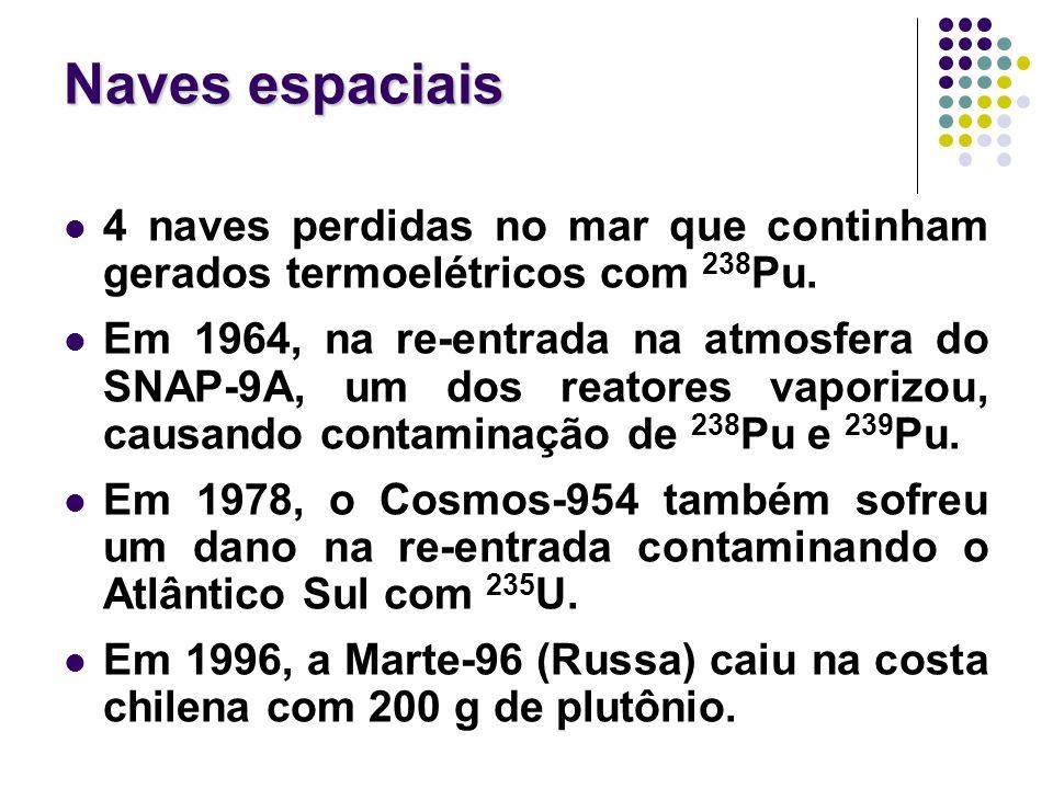 Naves espaciais 4 naves perdidas no mar que continham gerados termoelétricos com 238Pu.