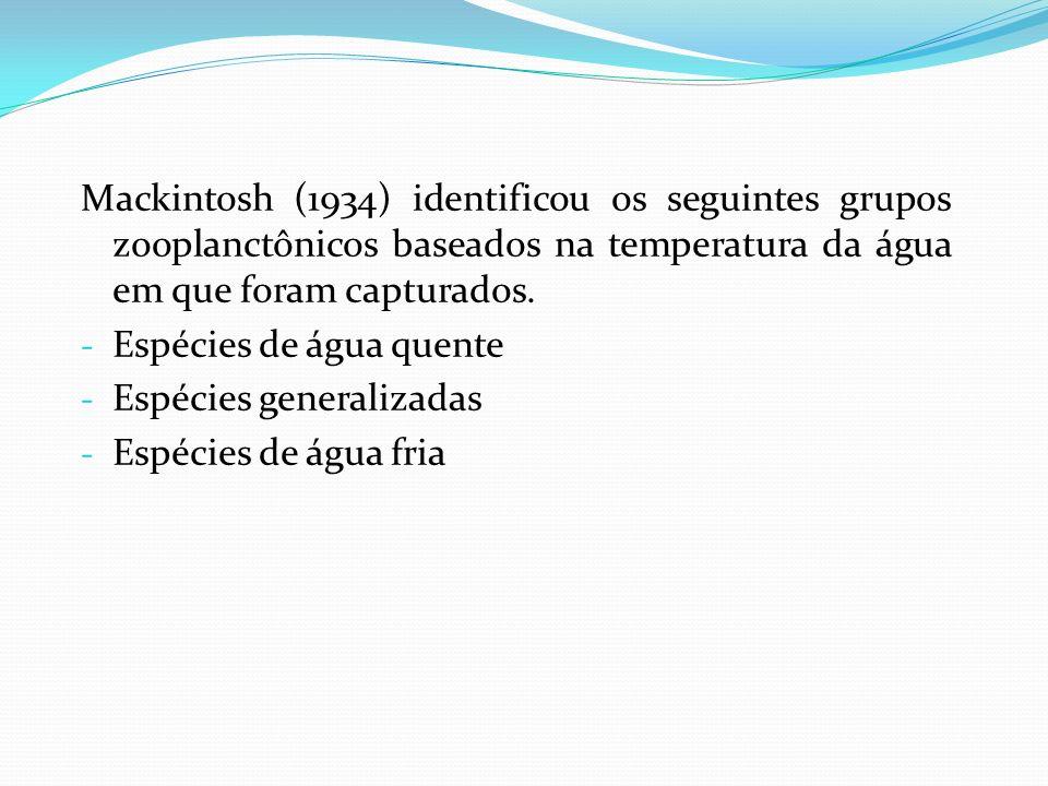Mackintosh (1934) identificou os seguintes grupos zooplanctônicos baseados na temperatura da água em que foram capturados.