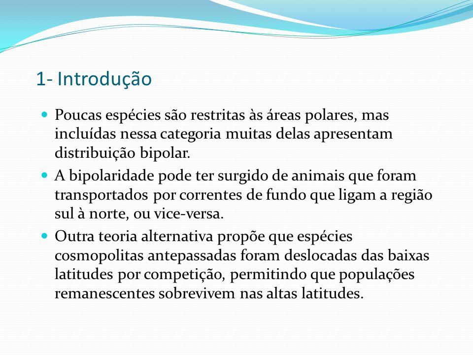 1- IntroduçãoPoucas espécies são restritas às áreas polares, mas incluídas nessa categoria muitas delas apresentam distribuição bipolar.