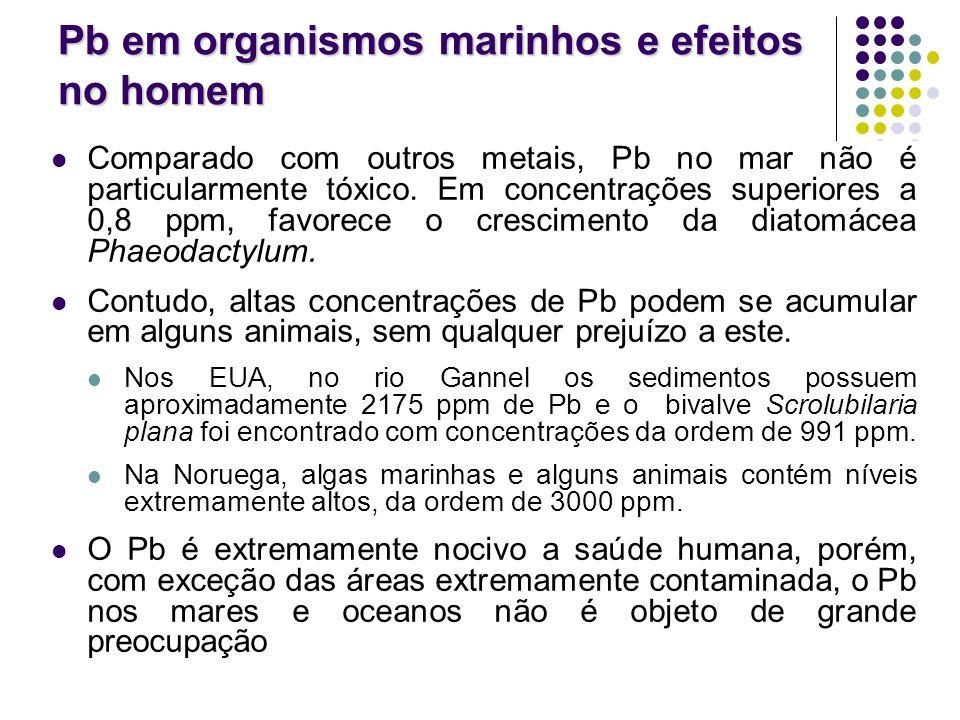 Pb em organismos marinhos e efeitos no homem