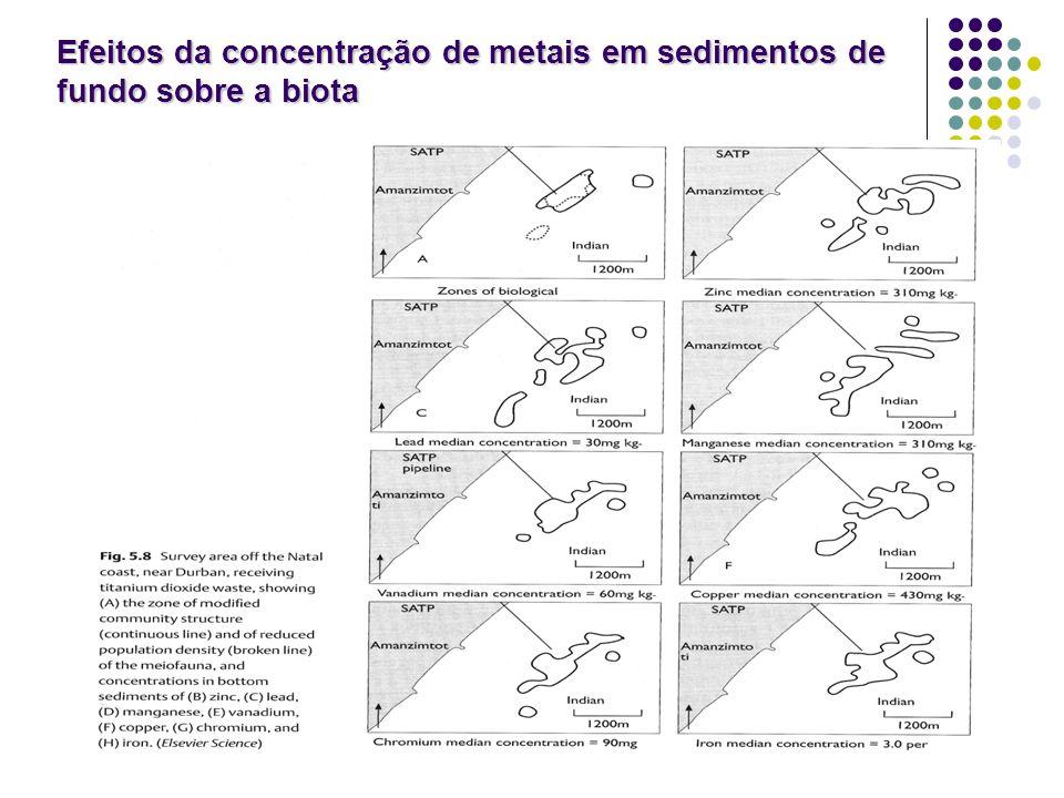 Efeitos da concentração de metais em sedimentos de fundo sobre a biota