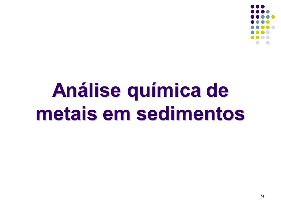 Análise química de metais em sedimentos