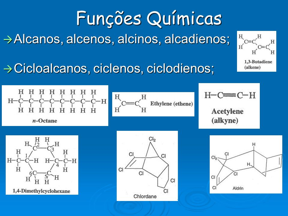 Funções Químicas Alcanos, alcenos, alcinos, alcadienos;