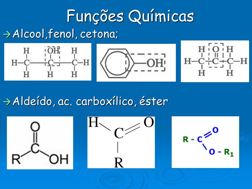 Funções Químicas Alcool,fenol, cetona; Aldeído, ac. carboxílico, éster