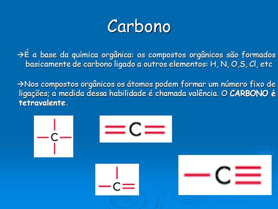 Carbono É a base da química orgânica: os compostos orgânicos são formados basicamente de carbono ligado a outros elementos: H, N, O,S, Cl, etc.