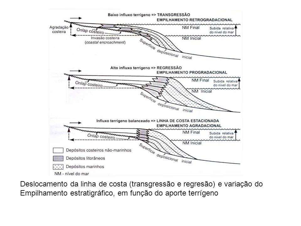 Deslocamento da linha de costa (transgressão e regresão) e variação do