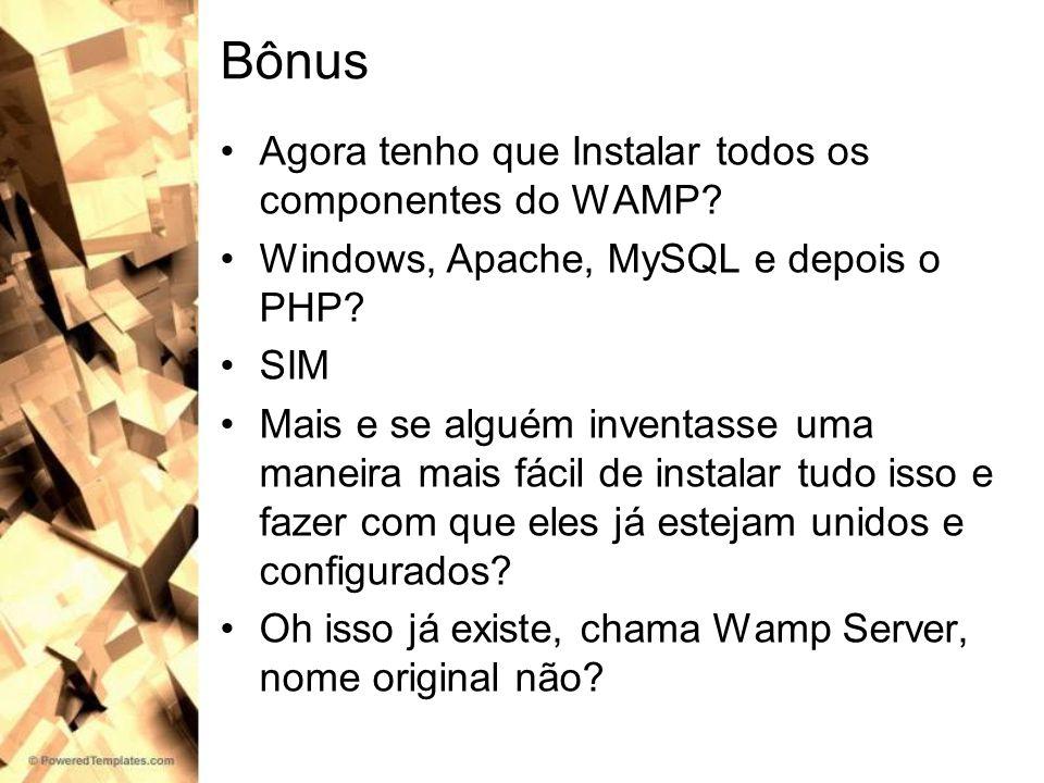 Bônus Agora tenho que Instalar todos os componentes do WAMP