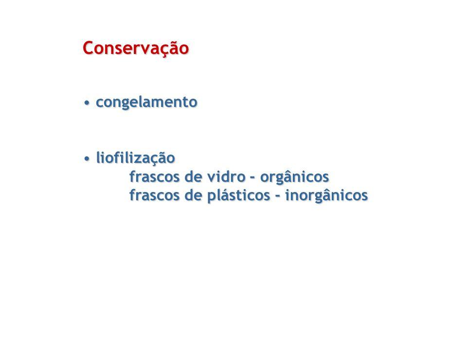 Conservação congelamento liofilização frascos de vidro - orgânicos