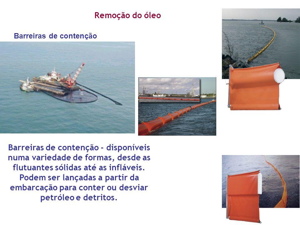 Remoção do óleo Barreiras de contenção.