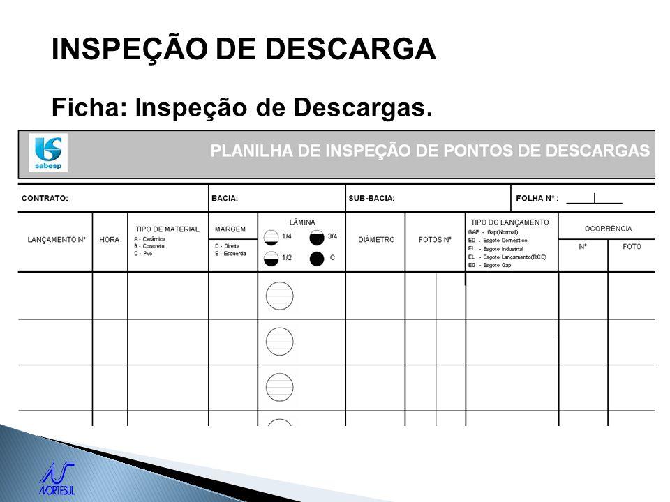 INSPEÇÃO DE DESCARGA Ficha: Inspeção de Descargas.