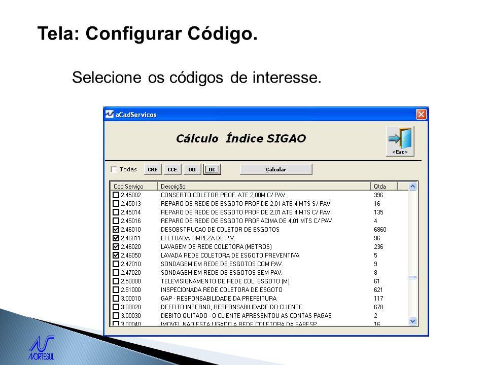 Tela: Configurar Código.
