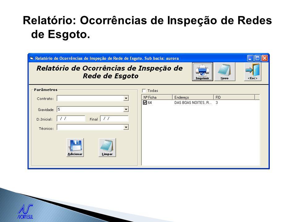 Relatório: Ocorrências de Inspeção de Redes de Esgoto.