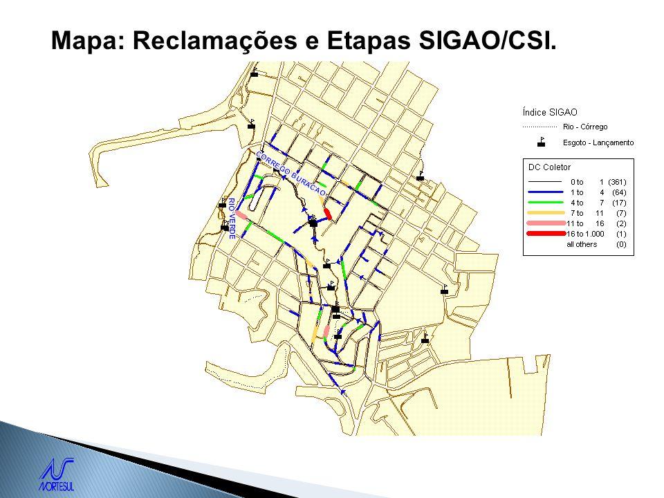 Mapa: Reclamações e Etapas SIGAO/CSI.