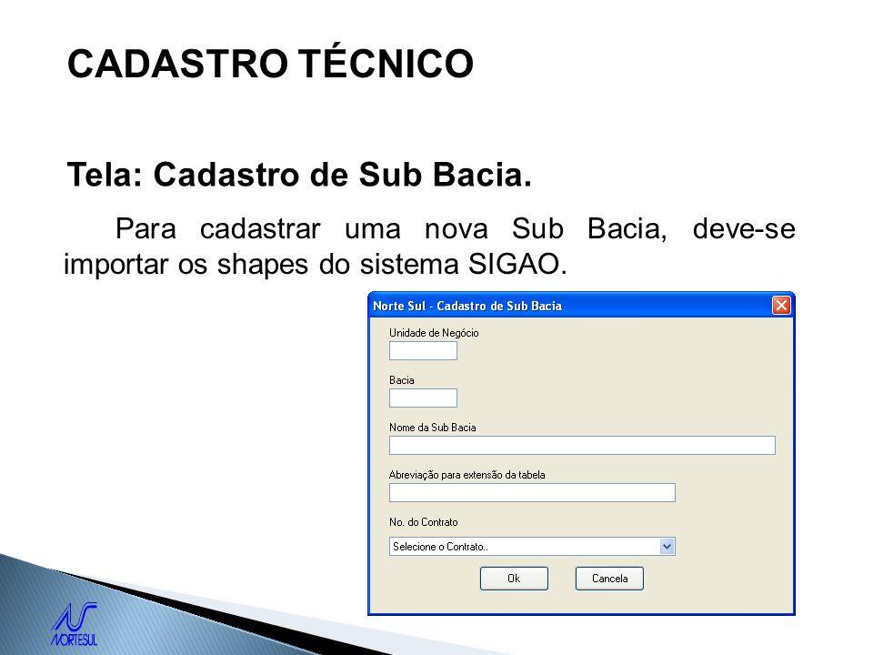 CADASTRO TÉCNICO Tela: Cadastro de Sub Bacia.