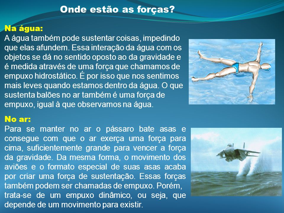 Onde estão as forças Na água: