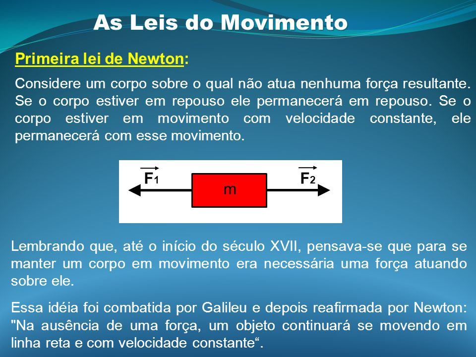 As Leis do Movimento Primeira lei de Newton: F1 F2 m