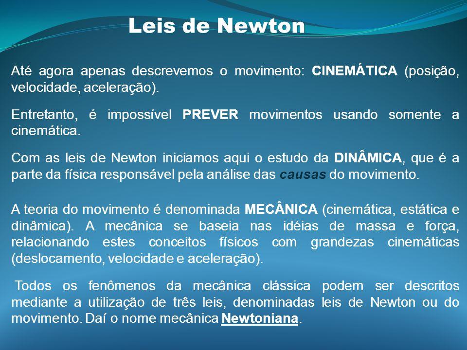 Leis de Newton Até agora apenas descrevemos o movimento: CINEMÁTICA (posição, velocidade, aceleração).