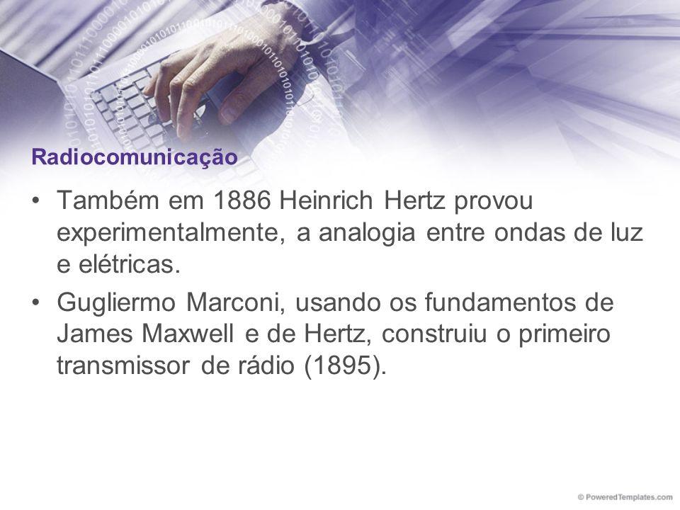 Radiocomunicação Também em 1886 Heinrich Hertz provou experimentalmente, a analogia entre ondas de luz e elétricas.