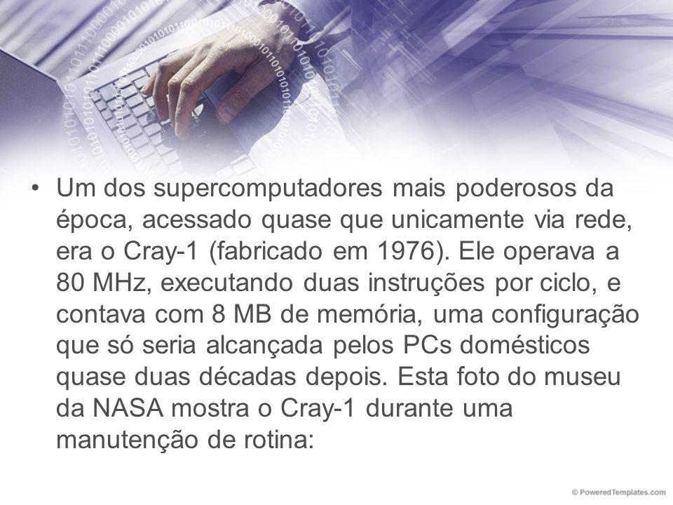 Um dos supercomputadores mais poderosos da época, acessado quase que unicamente via rede, era o Cray-1 (fabricado em 1976).