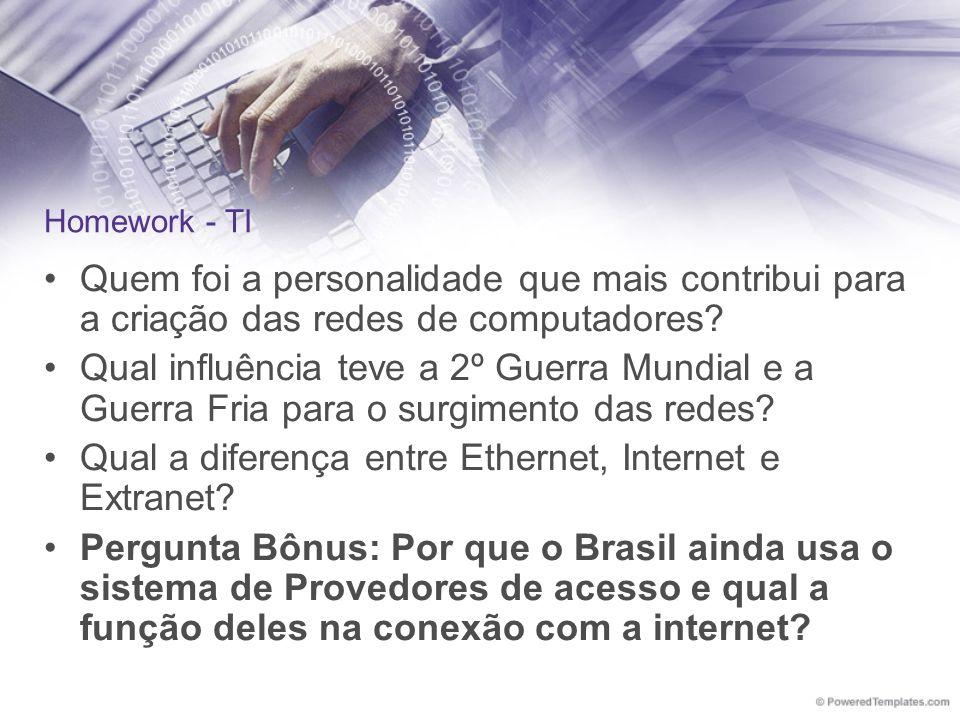 Qual a diferença entre Ethernet, Internet e Extranet
