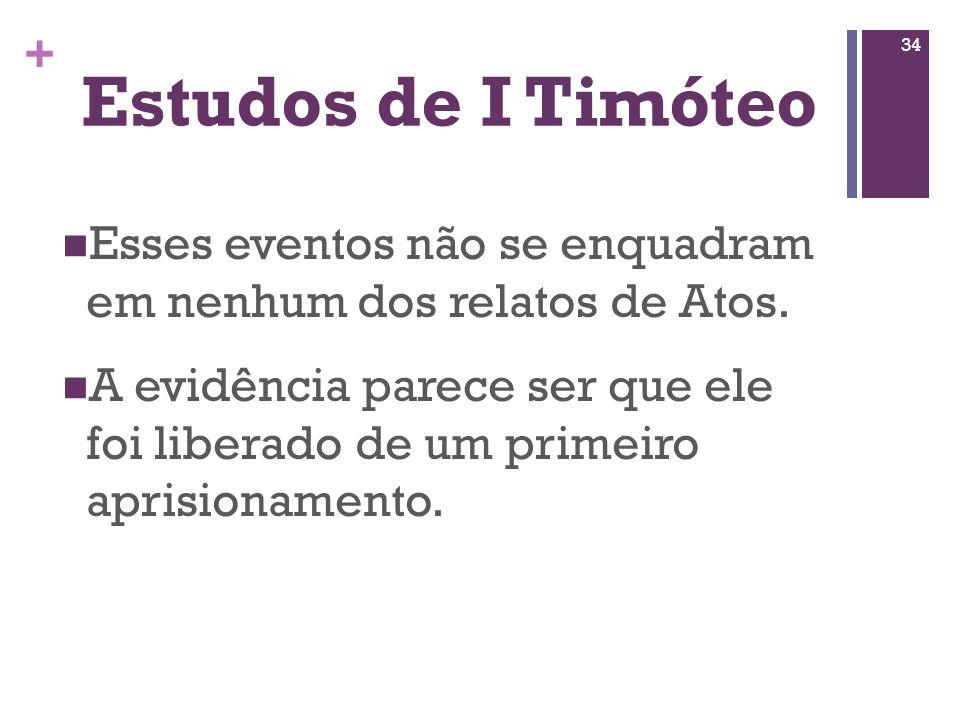 Estudos de I Timóteo Esses eventos não se enquadram em nenhum dos relatos de Atos.