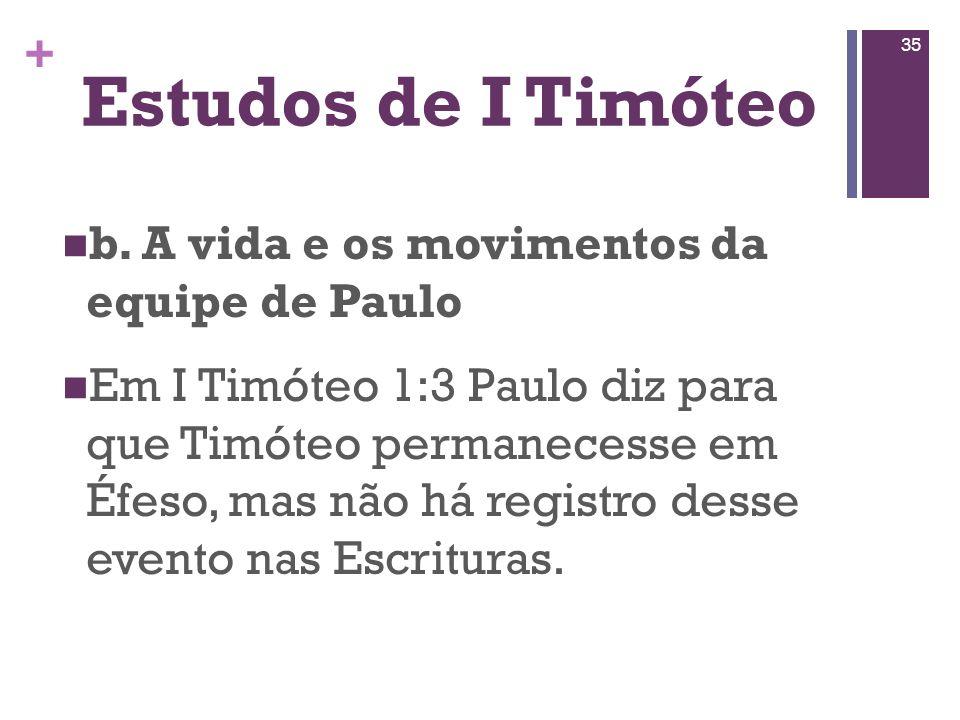 Estudos de I Timóteo b. A vida e os movimentos da equipe de Paulo