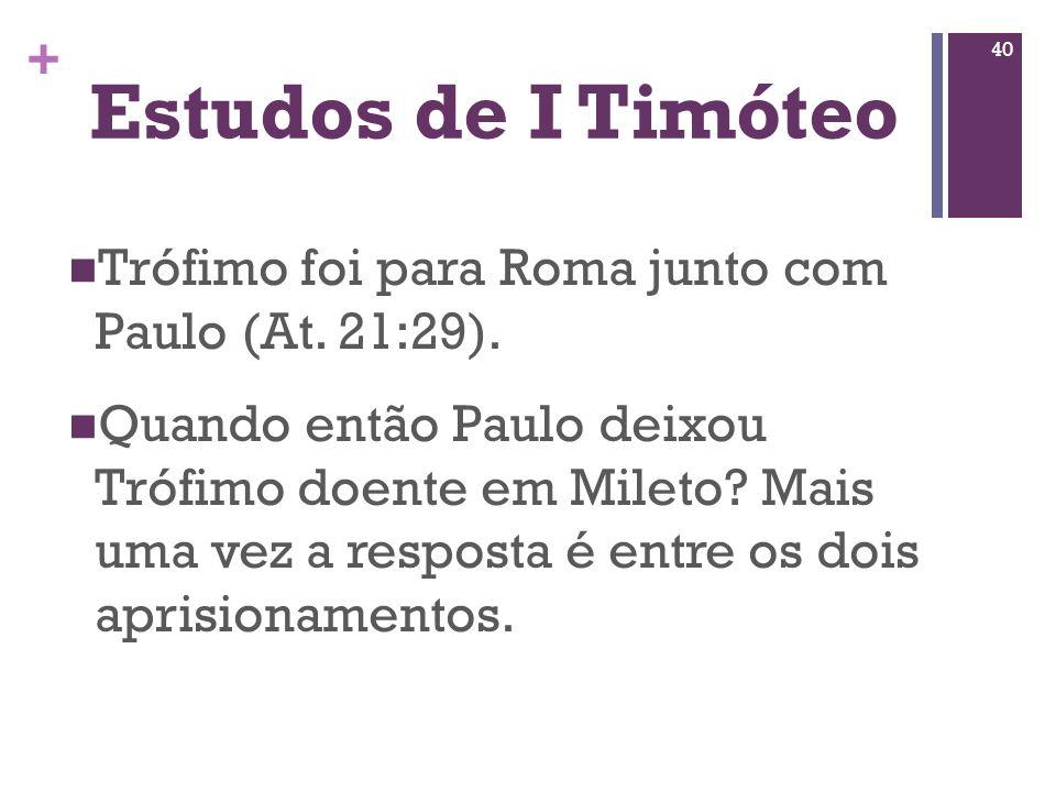 Estudos de I TimóteoTrófimo foi para Roma junto com Paulo (At. 21:29).