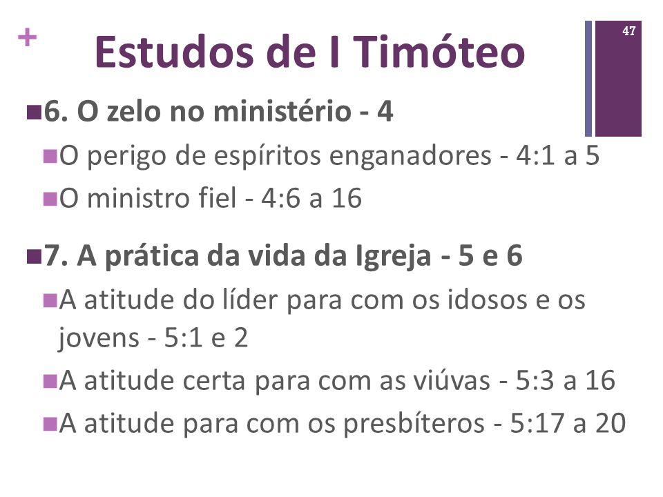Estudos de I Timóteo 6. O zelo no ministério - 4
