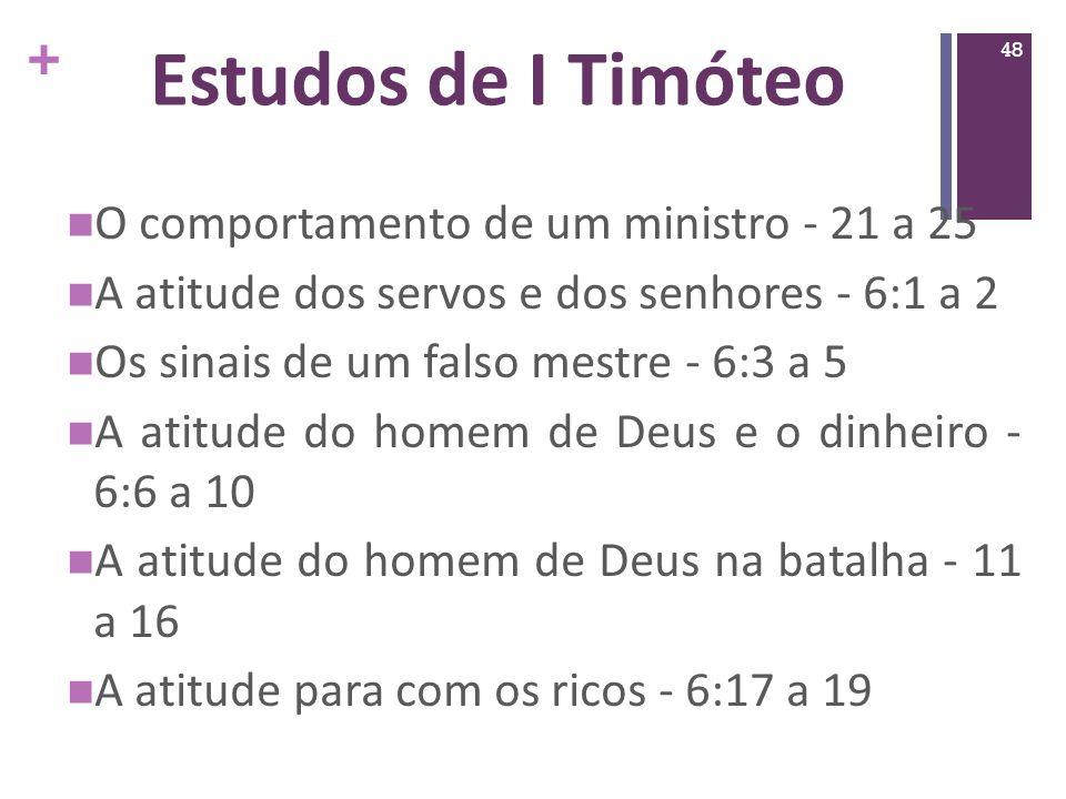 Estudos de I Timóteo O comportamento de um ministro - 21 a 25
