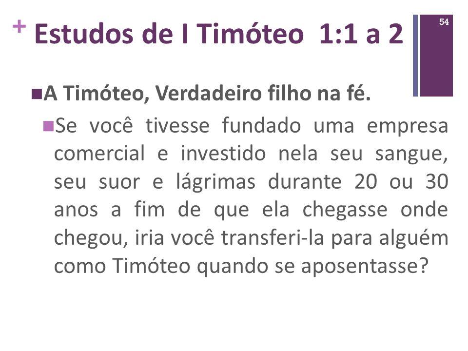 Estudos de I Timóteo 1:1 a 2 A Timóteo, Verdadeiro filho na fé.