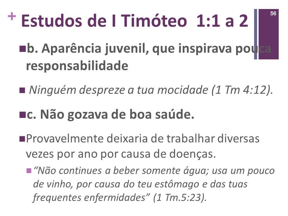 Estudos de I Timóteo 1:1 a 2 b. Aparência juvenil, que inspirava pouca responsabilidade. Ninguém despreze a tua mocidade (1 Tm 4:12).