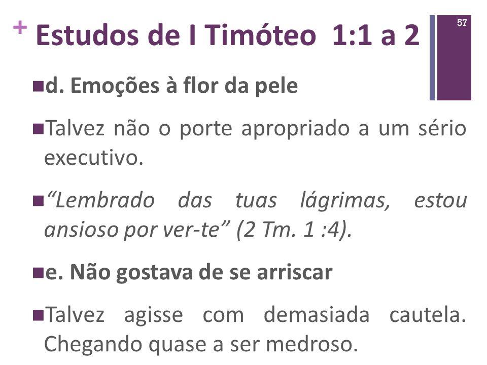 Estudos de I Timóteo 1:1 a 2 d. Emoções à flor da pele