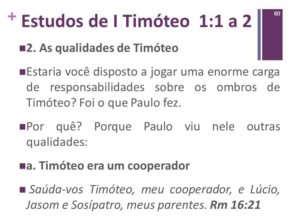 Estudos de I Timóteo 1:1 a 2 2. As qualidades de Timóteo