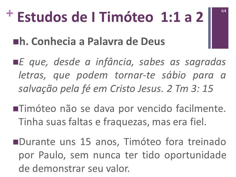 Estudos de I Timóteo 1:1 a 2 h. Conhecia a Palavra de Deus