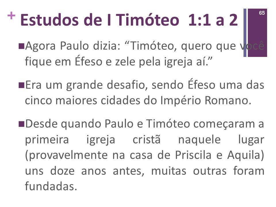 Estudos de I Timóteo 1:1 a 2Agora Paulo dizia: Timóteo, quero que você fique em Éfeso e zele pela igreja aí.