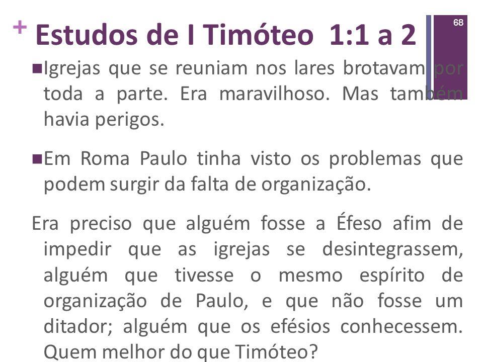 Estudos de I Timóteo 1:1 a 2 Igrejas que se reuniam nos lares brotavam por toda a parte. Era maravilhoso. Mas também havia perigos.