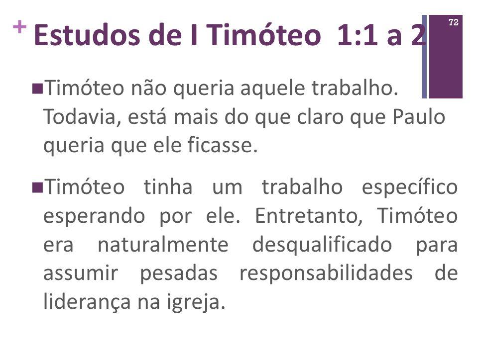 Estudos de I Timóteo 1:1 a 2 Timóteo não queria aquele trabalho. Todavia, está mais do que claro que Paulo queria que ele ficasse.