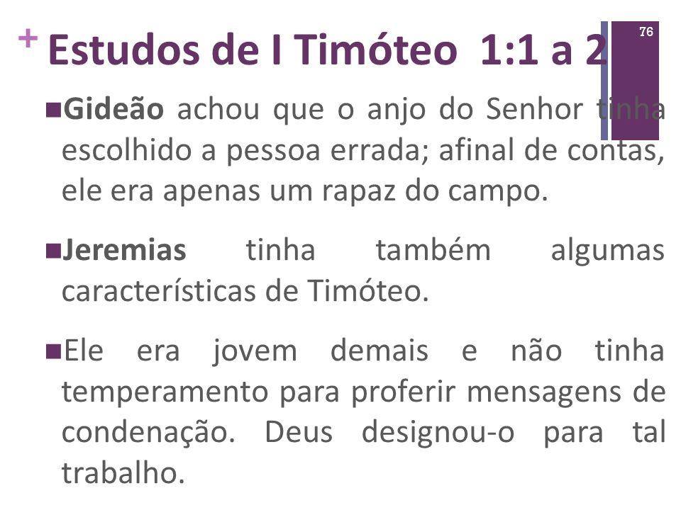 Estudos de I Timóteo 1:1 a 2
