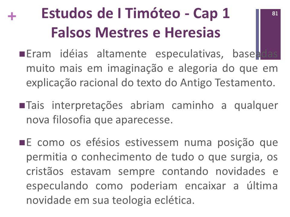 Estudos de I Timóteo - Cap 1 Falsos Mestres e Heresias
