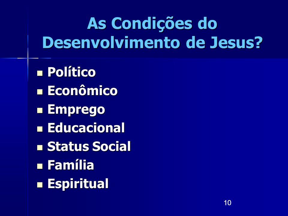 As Condições do Desenvolvimento de Jesus