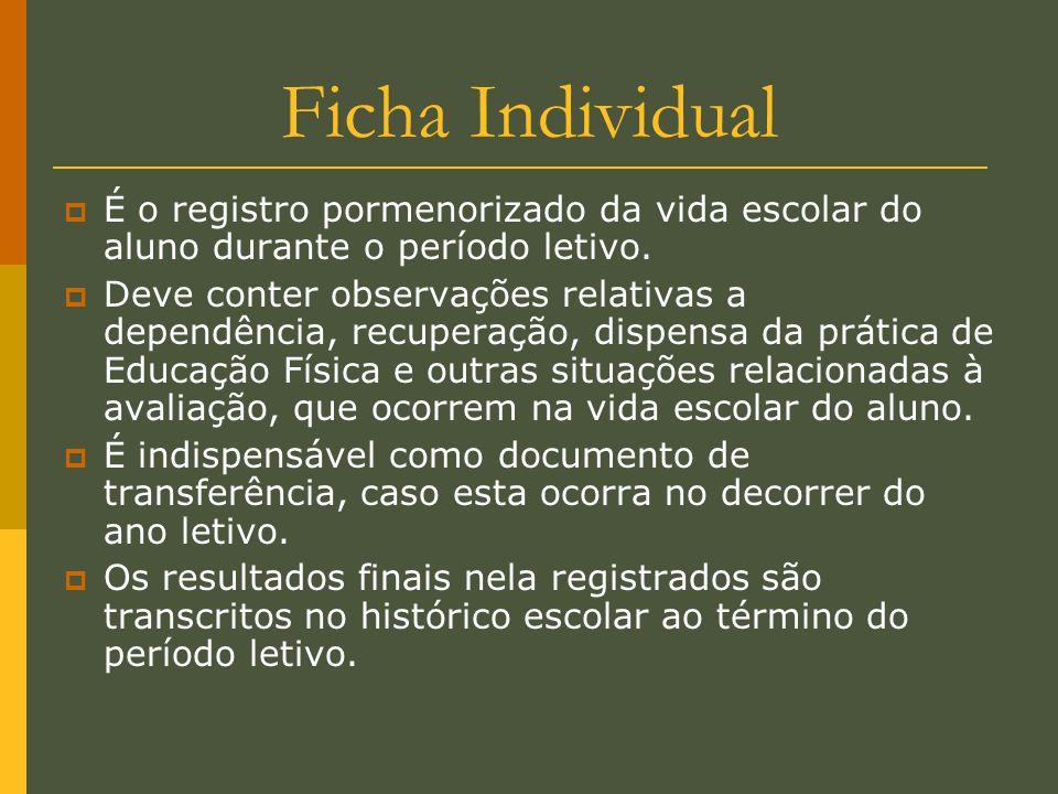 Ficha Individual É o registro pormenorizado da vida escolar do aluno durante o período letivo.