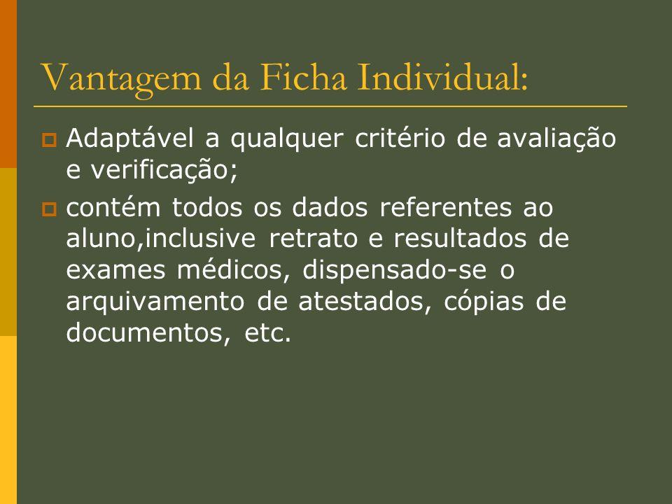 Vantagem da Ficha Individual: